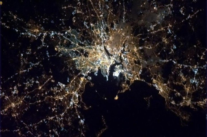Canadian astronaut Chris Hadfield passed along this picture of Boston at night, as seen from the International Space Station, in recognition of the city's tragedy.