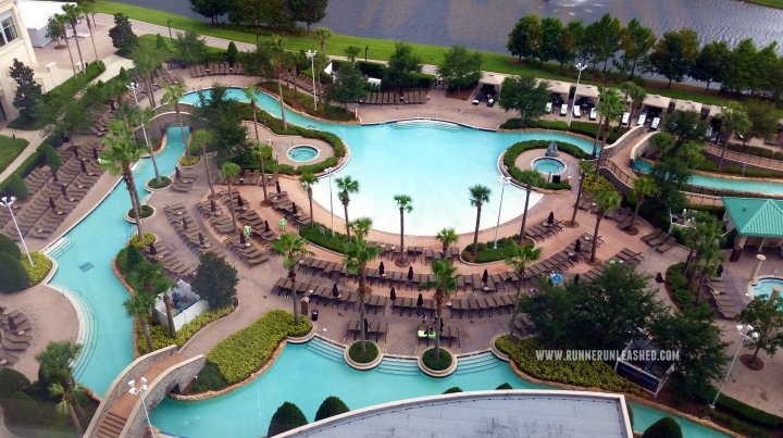 Yes their pool has a water slide and a lazy river. Connects the Hilton Bonnet Creek and Waldorf Astoria Orlando