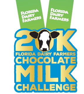 The finisher medal for Florida Dairy Farmers 20K Chocolate milk challenge.